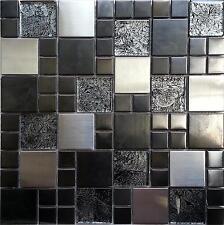 Mosaic Tiles Metal & Glass Hong Kong Brushed Stainless Steel Black Silver 002