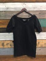 Norma Kamali Women's Plain Black T Shirt Short Sleeve size Xs W Pocket
