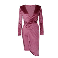 Women's Ladies Christmas Crushed Velvet Long Sleeves Bodycon Evening Party Dress