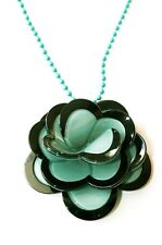"Green Black Flower Motif on Turquoise Ball Chain Necklace 18"" Preloved"