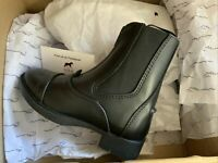 🤩 Shires Children's Harvies Paddock Boots With Front Zip Black Size 28 🤩