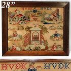 "Antique Victorian Needlepoint Tapestry, Sampler, 28.5"" Rosewood Frame: 1858 Souv"