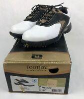 Footjoy Contour Series  Brown Black & White Golf Shoes Size 7 M 5417 Mint Cond.