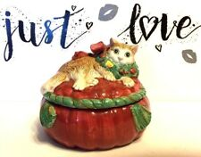 "Ff 1992 Fitz & Floyd Cat Christmas Trinket Box 6"" diameter Candy Dish Collection"