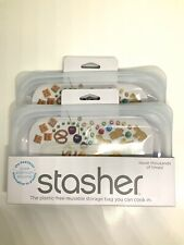 (PACK OF 2) Stasher Reusable Silicone Food Bag, Snack Size Clear