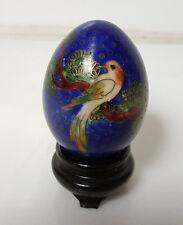 Vintage Cloisonne Egg blue with bird and floral pattern