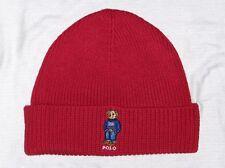 POLO RALPH LAUREN Men's USA Flag Sweater Bear Beanie, Cuffed, Skull Cap Hat, RED
