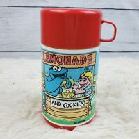 Vintage Aladdin Sesame Street Henson Lemonade And Cookies Stand Thermos EVC