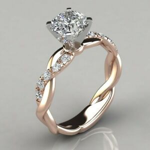 925 Silver Cushion Cut CZ 2-Tone Ring Wedding Jewellery for Women Girl