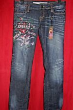 Ed Hardy by Christian Audigier Love Kills Slowly Skull Crystal Straight Jeans 29