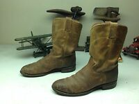 VINTAGE DISTRESSED MADE IN USA JUSTIN BROWN LEATHER ENGINEER WORK BOOTS 8.5D
