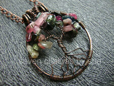 Feng Shui - Watermelon Tourmaline Tree of Life Necklace 1