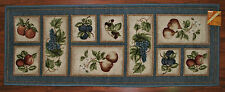 2X5 Kitchen Runner Rug Lite Blue Washable Mat Fruit Grapes Pears Apples Peach