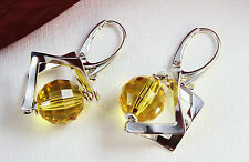 Design 925 Silber OHRHÄNGER  mit Swarovski Stein Light Topaz, SEHR EDEL !