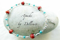 ✫APACHE✫ HANDCRAFTED TURQUOISE & CORAL GEM ANKLE CHAIN ANKLET ANKLE BRACELET