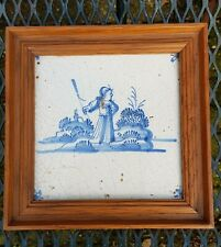ANTIQUE DUTCH DELFT BLUE WHITE POTTERY TILE SHEPPERD OF SNAILS FRAMED