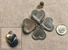 Vintage Sterling Silver MEXICO Heart / 4 Leaf Clover / 4 Photo Locket--Signed