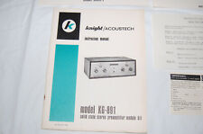 Original!  Knight Kit / Acoustech KG-891 Stereo Preamplifier Instruction Manual