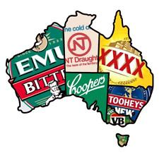 STICKER Australia Beer Map BUMPER STICKER FREE POST VB Tooheys XXXX Emu NT