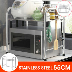 Tier Microwave Oven Rack Stand Stainless Steel Kitchen Storage Organiser Shelf