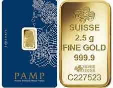 Fifty (50) 2.5 Gram PAMP Suisse .9999 pure Gold Bars - FREE shipping