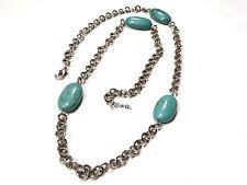 Bijou alliage argenté collier sautoir Howlite turquoise  D'ana necklace