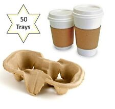 50 x 2 Cup Takeaway Cardboard Carry Tray Holder Tea Coffee Party Event Catering