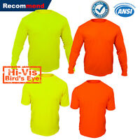 Hi Vis T Shirt Safety Yellow Orange Non ANSI Long Sleeve Shirt High Visibilby