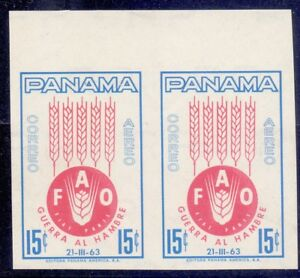 22/12.PANAMA,1963 FREEDOM FROM HUNGER SC.C283 IMPERF.VERY FINE PAIR, MNH,SCARCE
