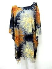 ma 6 MINI DRESS LOOSE TUNIC BUTTERFLY BATWING SUMMER RAYON THAI CAFTAN FIREWORKS