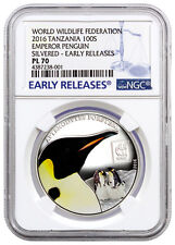 2016 Tanzania Proof Like Silvered WWF Emperor Penguin NGC PCGS PL70 PR70 ID#001