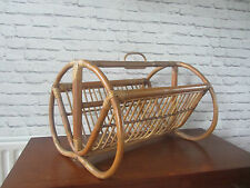 Mid century large cane magazine newspaper rack storage papers mags news vintage