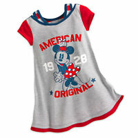 Disney Store Minnie Mouse Americana NightGown PJ's Girls Size 2 3 4 5/6 NWT