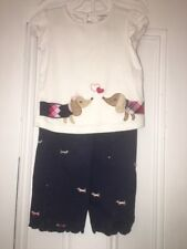 Gymboree New York Puppy School Outfit Sz 3t Embroidered dachshund pants & Top