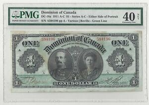 Dominion of Canada 1911 $1 DC-18a PMG Extremely Fine 40 NET