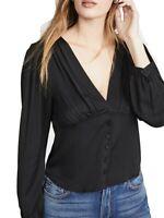 Frame Womens Blouse Black Size Small S Silk Empire Pleat Noir V-Neck $325- 104