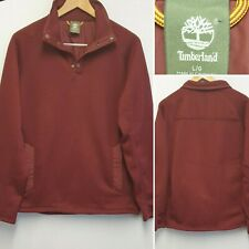 TIMBERLAND BURGUNDY 1/4 ZIP PRESS BUTTON FLEECE PULL OVER JACKET SIZE L LARGE
