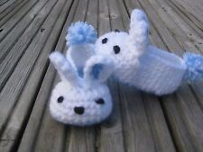 Handmade Crochet Knitted Baby Bunny Pantoufles Blue-White For 6-12 months old baby