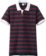 MICHAEL BASTIAN Rugby Stripe Washed 3-Button Polo Shirt Men's S Wine/Navy *NEW*