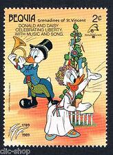 WALT DISNEY 1 FRANCOBOLLO BEQUIA DONALD AND DAISY 1989 nuovo