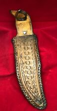 "Vintage Tooled Leather fixed Blade Knife 9"" Sheath"