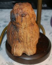 More details for wow lovely brown old english sheepdog lamp dog on old brass lamp wood base decor