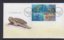 COCOS Islands 2002 TURTLES  Marine life BLOCK of 4  on FDC  -