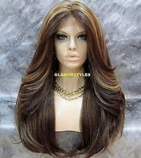 Long Layered Brown Blonde Mix Full Lace Front Wig Heat Ok Hair Piece #FS8.27.613