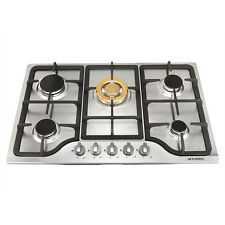 """New 30"""" Stainless Steel Built-in 5 Stoves Natural Gas Hob & Gold Burner Cooktops"""