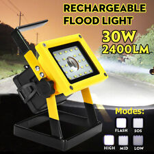 30W Portable Rechargeable LED Flood Light Outdoor Camping Garden Work Spot Lamp