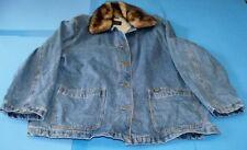 Women's Lee Blue Denim Chore Barn Jacket Removable Fur Collar Fully Lined XL