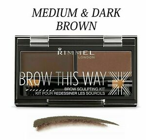 RIMMEL Brow This Way Eyebrow Powder Sculpting Kit - *DARK BROWN & MEDIUM BROWN*