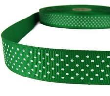 "5 Yds Green White Confetti Swiss Tiny Polka Dot Grosgrain Ribbon 1""W"