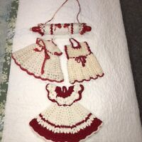 Lot of 4 Vintage Hand Crocheted Doilies 3 Red Dress Potholders w Crochet Hanger